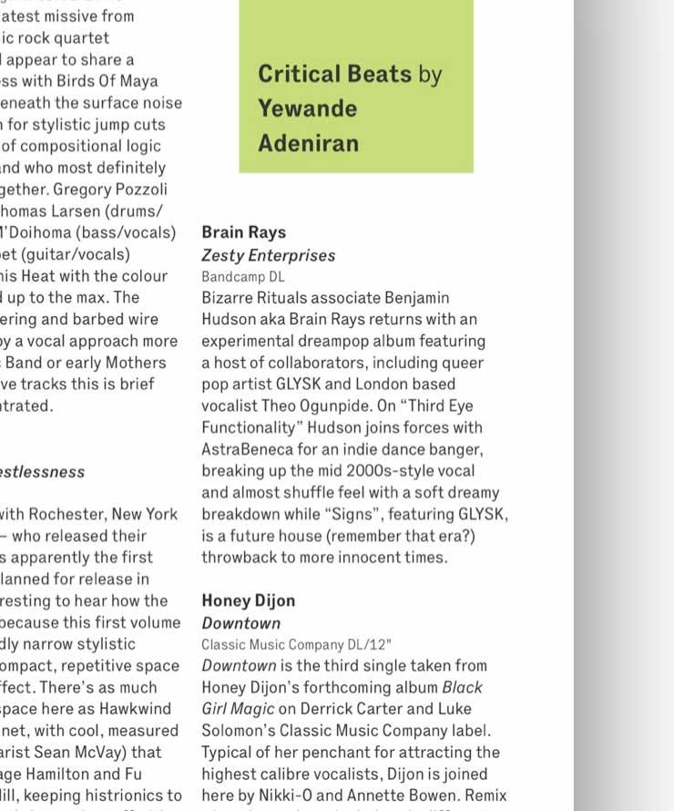 Brain Rays - Zesty Enterprises review in Wire Magazine